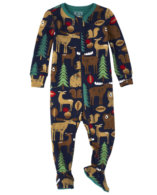 Baby And Toddler Boys Long Sleeve Forest Snug Fit Cotton One Piece Pajamas