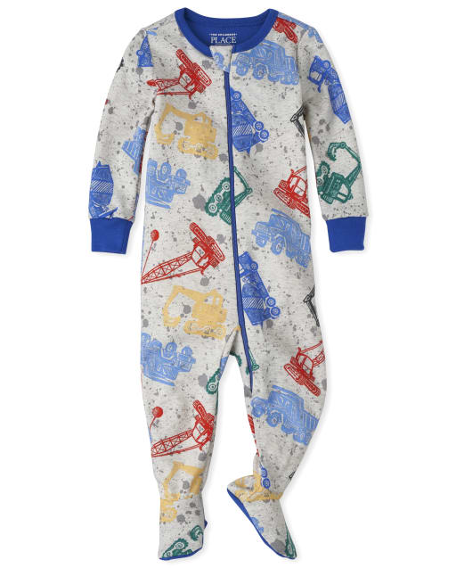 Baby And Toddler Boys Long Sleeve Truck Snug Fit Cotton Footed One Piece Pajamas