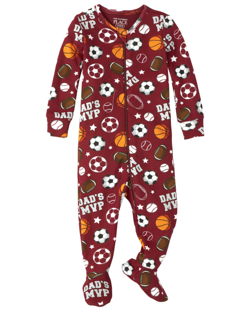 Baby And Toddler Boys Long Sleeve Sports Snug Fit Cotton Footed One Piece Pajamas