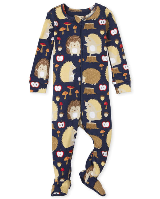 Baby And Toddler Boys Long Sleeve Hedgehog Print Snug Fit Cotton One Piece Pajamas