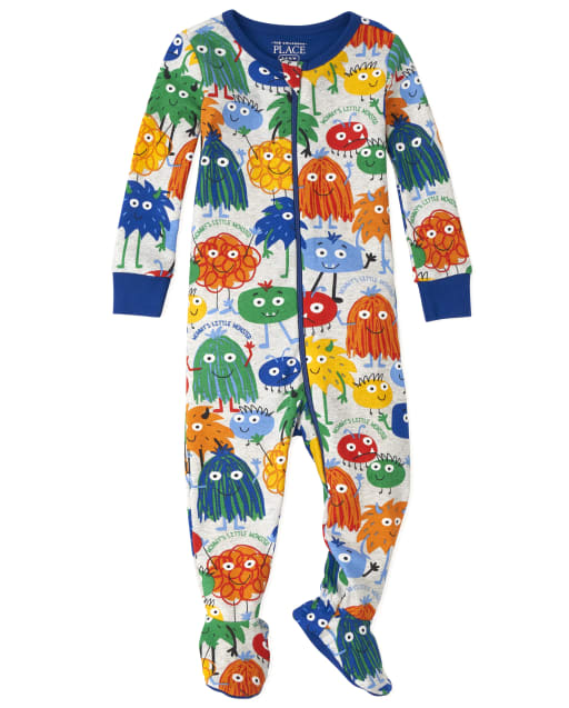 Baby And Toddler Boys Long Sleeve Monster Doodle Print Snug Fit Cotton Pajamas