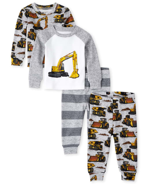 Baby And Toddler Boys Long Sleeve Construction Snug Fit Cotton 4-Piece Pajamas