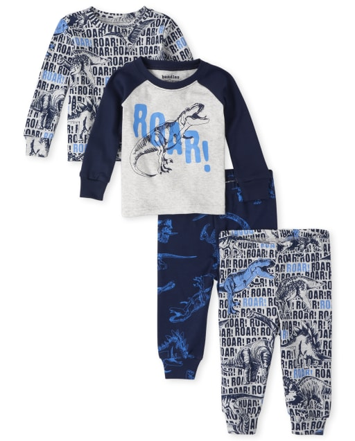 Baby And Toddler Boys Long Sleeve Dino Snug Fit Cotton 4-Piece Pajamas