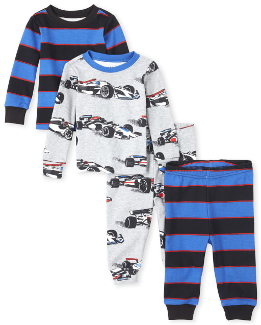 Baby And Toddler Boys Long Sleeve Race Car Snug Fit Cotton 4-Piece Pajamas
