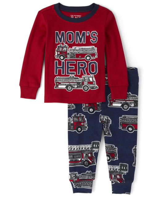 Baby And Toddler Boys Long Sleeve 'Mom's Hero' Fire Truck Snug Fit Cotton Pajamas