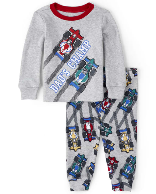 Baby And Toddler Boys Long Sleeve 'Dad's Champ' Race Car Snug Fit Cotton Pajamas