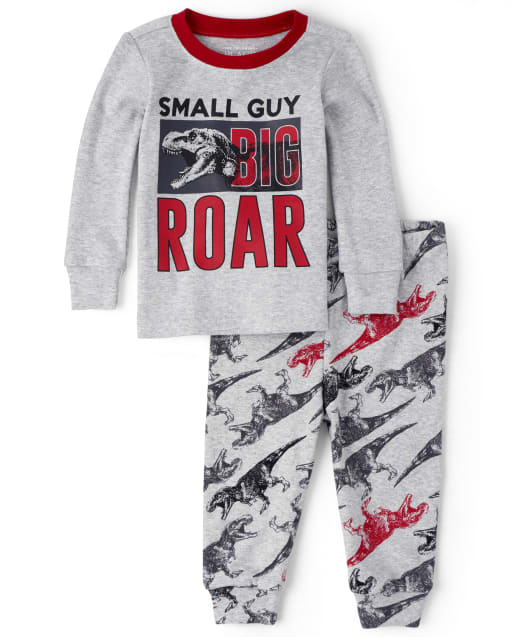 Baby And Toddler Boys Long Sleeve 'Small Guy Big Roar' Dino Snug Fit Cotton Pajamas