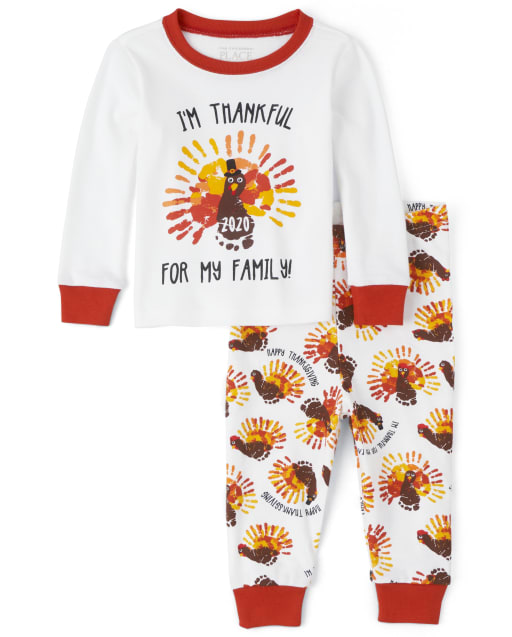 Unisex Baby And Toddler Long Sleeve 'I'm Thankful For My Family' Thanksgiving Snug Fit Cotton Pajamas