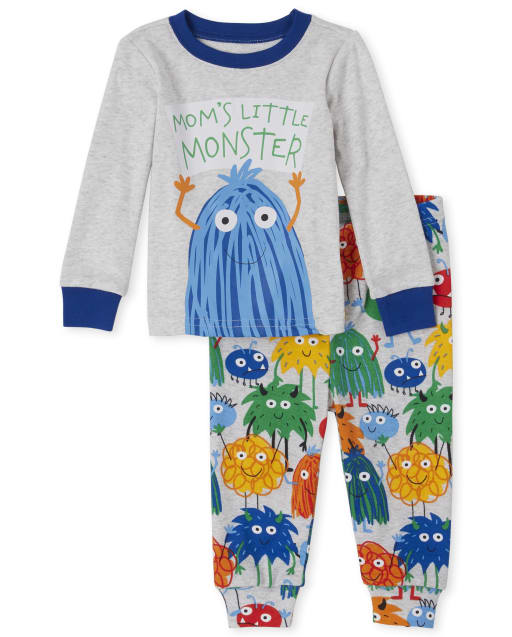 Baby And Toddler Boys Long Sleeve 'Mom's Little Monster' Monster Snug Fit Cotton Pajamas