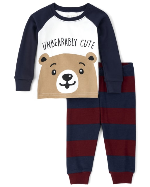 Baby And Toddler Boys Long Sleeve Bear Snug Fit Cotton Pajamas