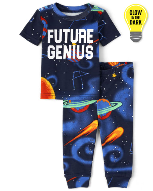 Baby And Toddler Boys Short Sleeve Glow In The Dark 'Future Genius' Space Snug Fit Cotton Pajamas