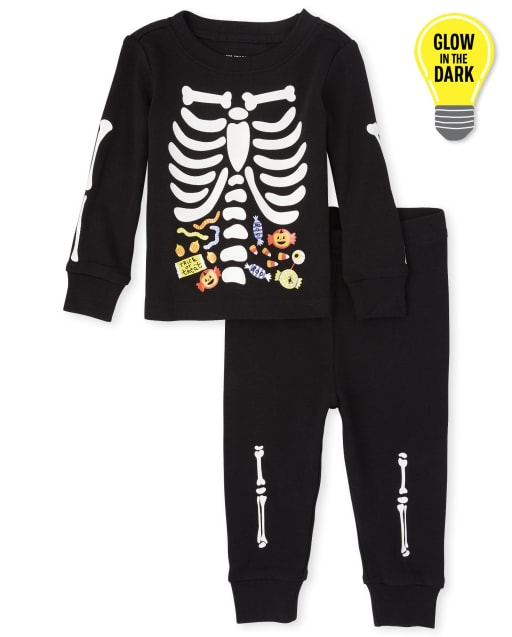 Unisex Baby And Toddler Halloween Long Sleeve Glow In The Dark Candy Skeleton Snug Fit Cotton Pajamas