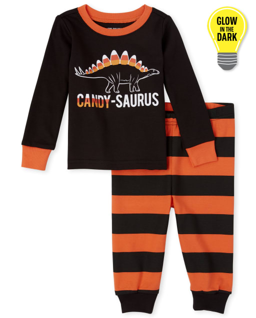 Unisex Baby And Toddler Matching Family Halloween Long Sleeve Glow In The Dark Candy-Saurus Snug Fit Cotton Pajamas