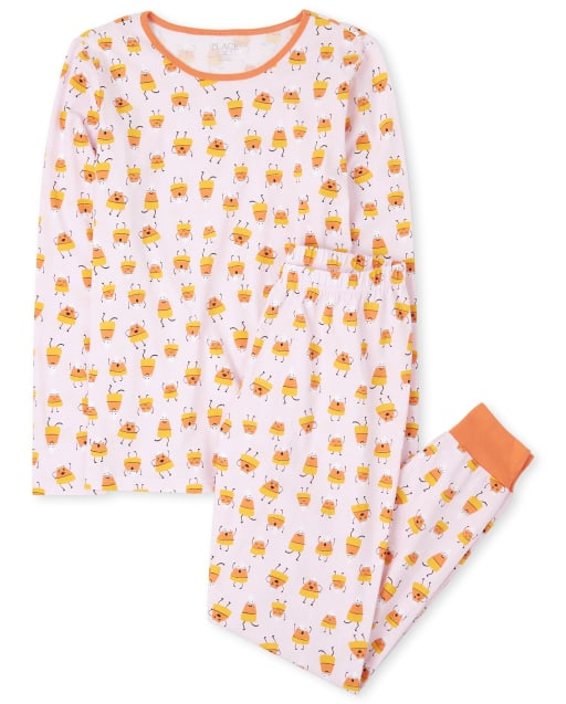 Womens Mommy And Me Halloween Long Sleeve Glow In The Dark Candycorn Matching Cotton Pajamas