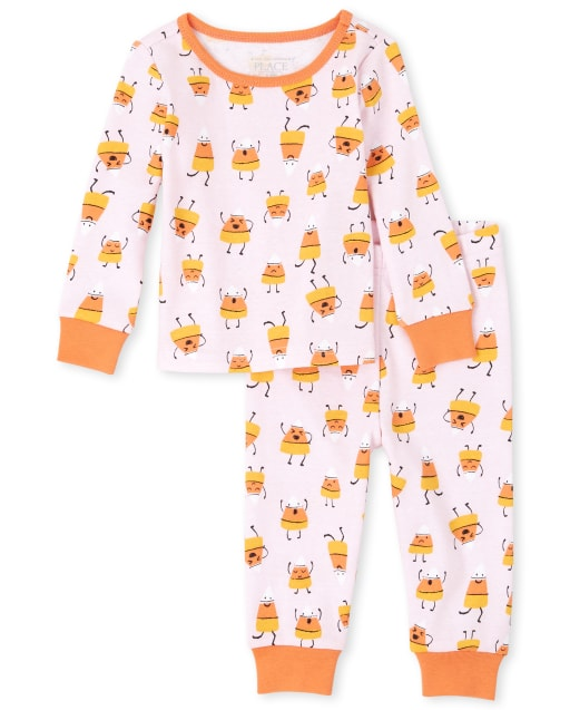 Baby And Toddler Girls Mommy And Me Halloween Long Sleeve Candycorn Matching Snug Fit Cotton Pajamas