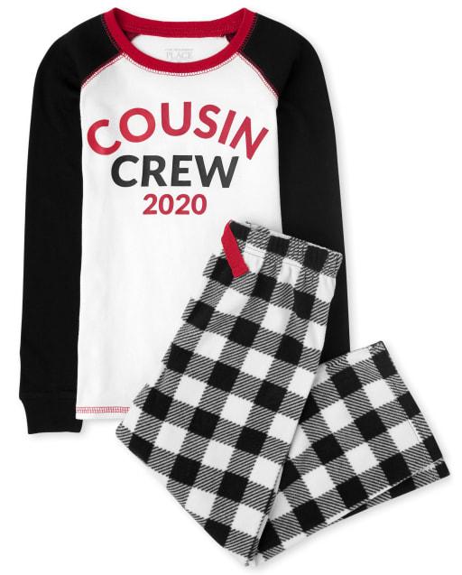 Unisex Kids Matching Family Christmas Long Raglan Sleeve Buffalo Plaid Snug Fit Cotton Top And Fleece Pants Pajamas