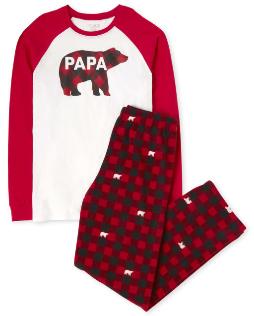 Mens Matching Family Christmas Long Raglan Sleeve Bear Buffalo Plaid Cotton Top And Fleece Pants Pajamas