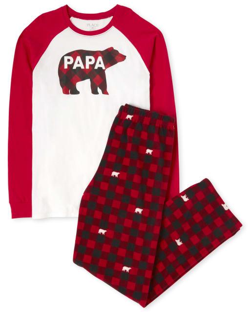 Mens Matching Family Christmas Long Raglan Sleeve Bear Buffalo Plaid Cotton Top And Fleece Pants Pajamas