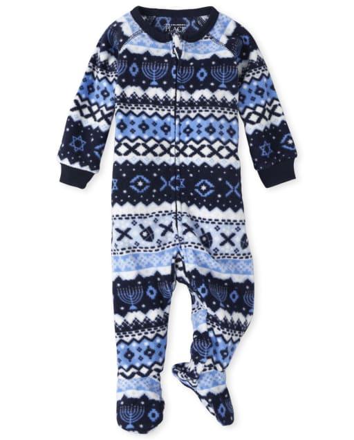 Unisex Baby And Toddler Matching Family Long Sleeve Hanukkah Fairisle Fleece Footed One Piece Pajamas