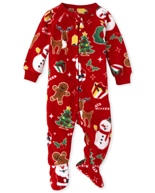 Unisex Baby And Toddler Matching Family Christmas Long Sleeve Christmas Crew Fleece Footed One Piece Pajamas