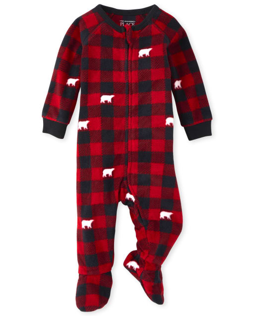 Unisex Baby And Toddler Matching Family Christmas Long Sleeve Bear Buffalo Plaid Fleece Footed One Piece Pajamas