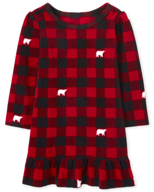 Toddler Girls Matching Family Christmas Long Sleeve Bear Buffalo Plaid Fleece Nightgown