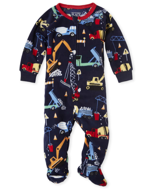 Baby And Toddler Boys Construction Print Fleece Footed One Piece Pajamas
