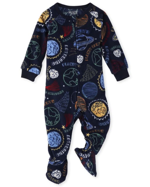 Baby And Toddler Boys Space Print Fleece Footed One Piece Pajamas