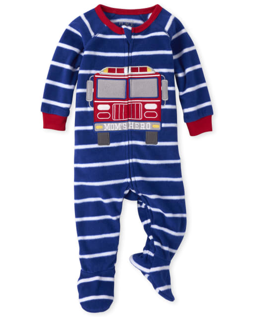 Baby And Toddler Boys Long Sleeve Fire Truck Striped Fleece Footed One Piece Pajamas