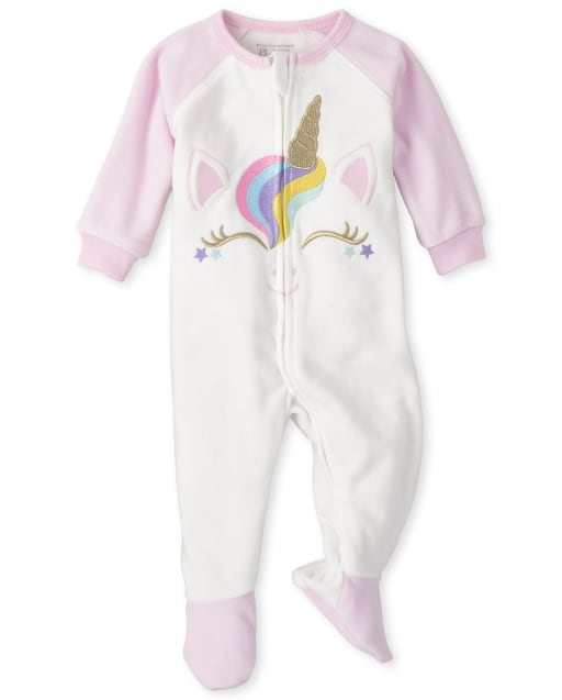 Baby And Toddler Girls Long Raglan Sleeve Unicorn Face Fleece Footed One Piece Pajamas