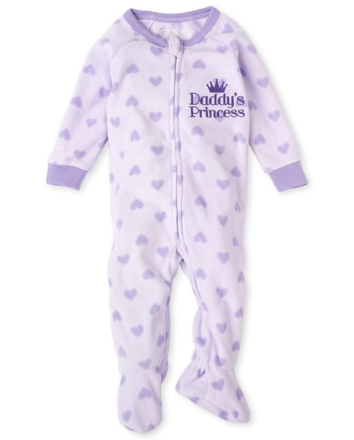 Baby And Toddler Girls Long Sleeve Heart Print Fleece Footed One Piece Pajamas