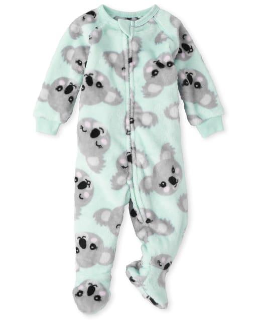 Baby And Toddler Girls Long Sleeve Koala Print Fleece Footed One Piece Pajamas