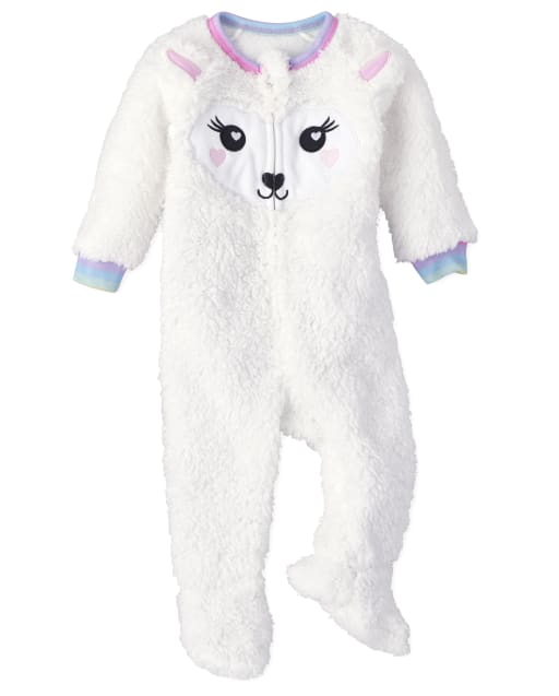 Baby And Toddler Girls Long Sleeve Llama Fleece Footed One Piece Pajamas