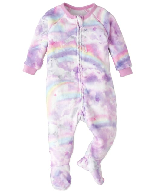 Baby And Toddler Girls Mommy And Me Long Sleeve Unicorn Cloud Print Fleece Matching Footed One Piece Pajamas