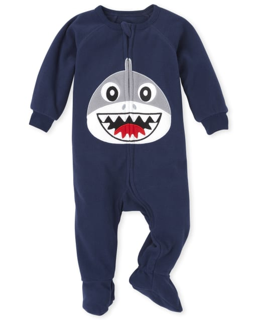 Baby And Toddler Boys Dad And Me Long Sleeve Shark Fleece Matching Footed One Piece Pajamas