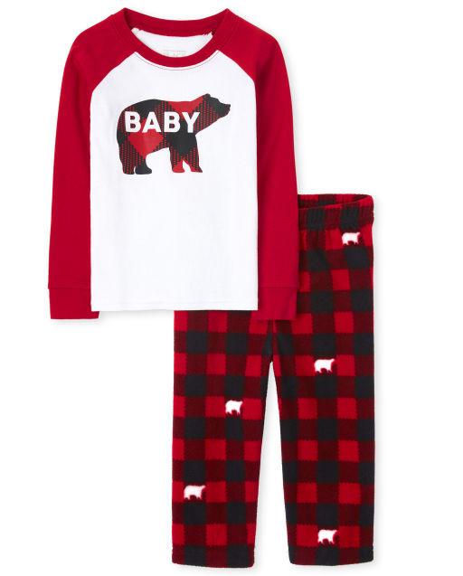 Unisex Baby And Toddler Matching Family Christmas Long Raglan Sleeve Bear Buffalo Plaid Snug Fit Cotton Top And Fleece Pants Pajamas