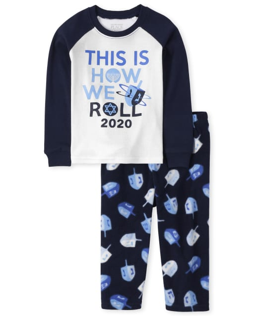 Unisex Baby And Toddler Matching Family Long Raglan Sleeve Hanukkah Festival Snug Fit Cotton Top And Fleece Pants Pajamas