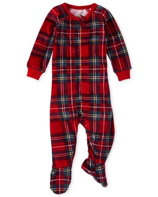 Baby And Toddler Girls Mommy And Me Christmas Long Sleeve Plaid Velour Matching Footed One Piece Pajamas