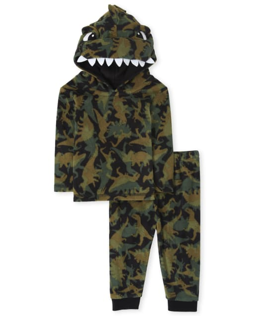 Unisex Baby And Toddler Matching Family Long Sleeve Dino Fleece Pajamas
