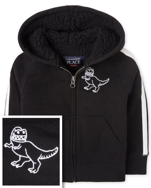 Baby And Toddler Boys Long Striped Sleeve Dino Sherpa Lined Fleece Zip Up Hoodie