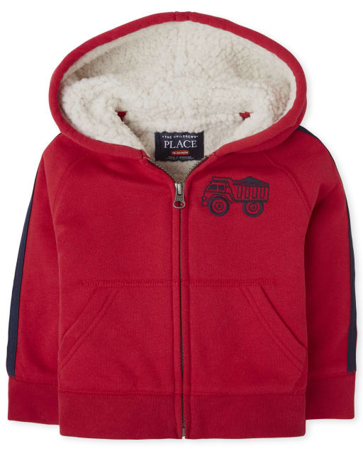 Toddler Boys Long Striped Sleeve Truck Sherpa Zip Up Hoodie