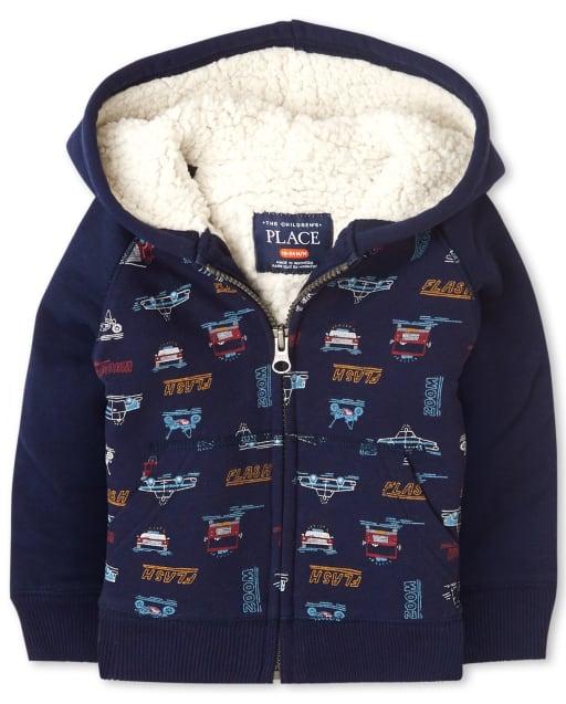 Toddler Boys Long Raglan Sleeve Transportation Print Sherpa Zip Up Hoodie