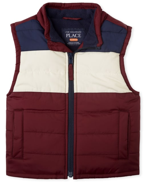 Toddler Boys Sleeveless Colorblock Puffer Vest