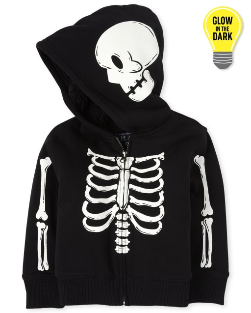 Unisex Baby And Toddler Matching Family Halloween Long Sleeve Glow In The Dark Skeleton Sherpa Zip Up Hoodie
