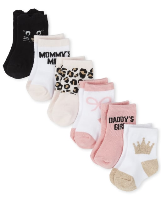 Baby Girls Cat Midi Socks 6-Pack