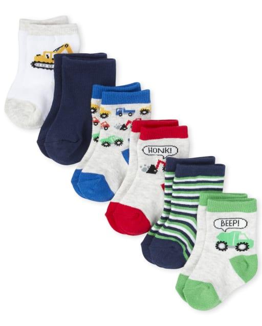 Pack de 6 pares de calcetines a media pierna Truck para bebé niño