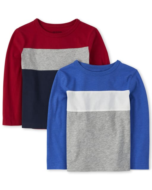 Baby And Toddler Boys Long Sleeve Colorblock Top 2-Pack