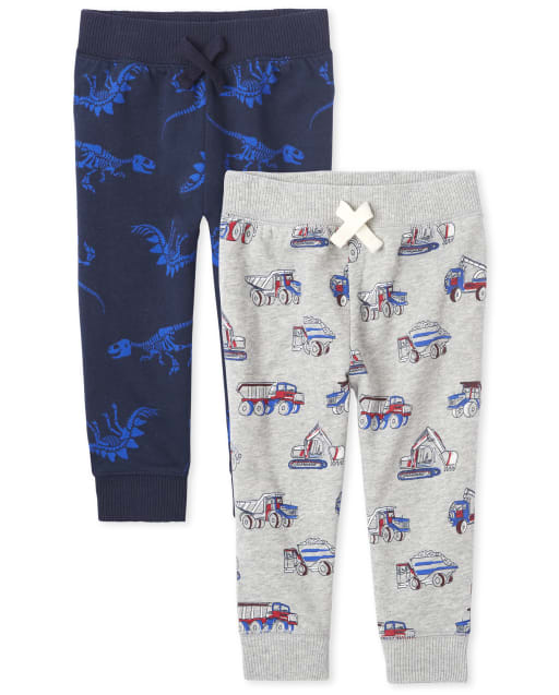 Baby And Toddler Boys Active Print Fleece Jogger Pants 2-Pack