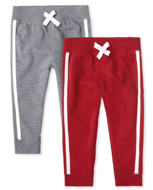 Baby And Toddler Boys Active Side Stripe Fleece Jogger Pants 2-Pack