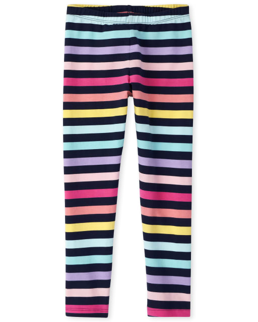 Girls Rainbow Striped Knit Leggings